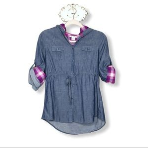 Juniors Chambray Denim and Plaid flannel Top Sz Lg